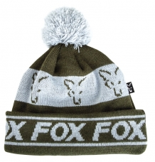 Fox Green & Silver Lined Bobble Hat