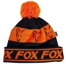 Fox Black & Orange Lined Bobble Hat